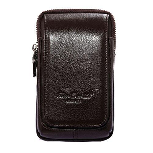 Xieben Marsupio Borsello in Pelle Da Cintura per Uomo Smartphone Telefono Custodia Tracolla Cellulare Verticale Portafoglio Mini borse Viaggio Con Clip iPhone 8/7 Plus Nota 8 Caffè