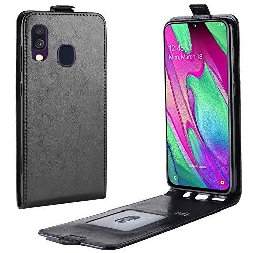 futypei Samsung Galaxy A40 Hülle, Premium Leder Flip Hülle mit Standfunktion undKartenfach Magnetisch Ledertasche Handyhülle TPU Innenraum Hülle Slim Lederhülle für Samsung Galaxy A40 Schwarz