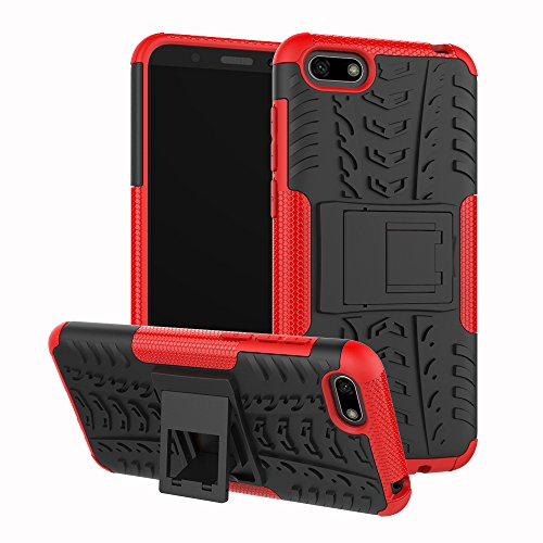 XINYUNEW Funda Huawei Y5 2018, 360 Grados Protective+Pantalla de Vidrio Templado Caso Carcasa Case Cover Skin móviles telefonía Carcasas Fundas para Huawei Y5 2018-Rojo