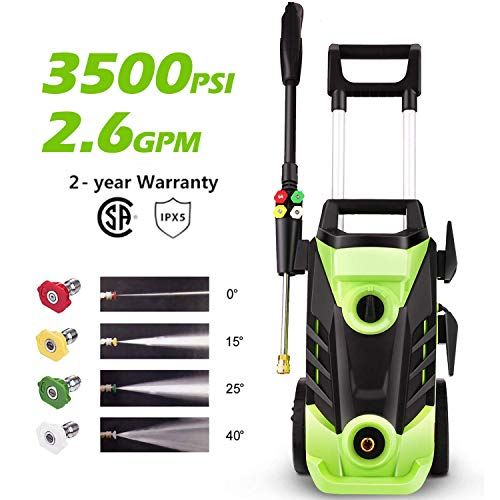 Homdox 3500 PSI Electric Pressure Washer 2.6 GPM High Pressure Washer 1800W Electric Power Washer Cleaner with 4 Nozzles Green