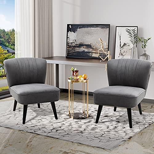 Walsunny Armless Single Sofa Chair, Wood Legs, Thickly Padded, High-Density Foam,Upholstered Modern Set of 2 Sofa Chair for Living Room Bedroom Furniture Dark Grey Velvet