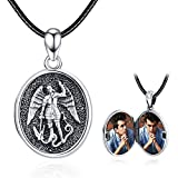 KINGWHYTE St Michael Locket Necklace for Women Men That Holds Pictures 925 Sterling Silver St Michael The Archangel Picture Locket Necklace