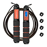 Jump Rope, Multifun Speed Skipping Rope with Calorie Counter and Memory Foam Handles, Tangle Free Digital Jump Rope with Ball Bearings & Alarm Reminder for Fitness, Crossfit, Exercise, Workout, Boxing