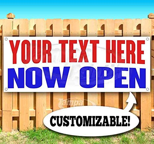 Your Text Here Now Open Max 71% OFF Customizable Tampa Mall Bann Heavy oz 13 Vinyl Duty