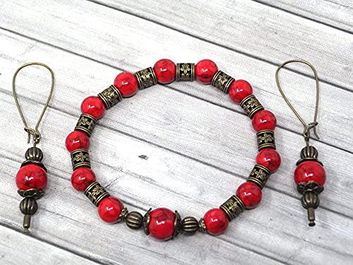 Conjunto de pulsera y pendientes estilo vintage para mujer en turquesa reconstituida roja