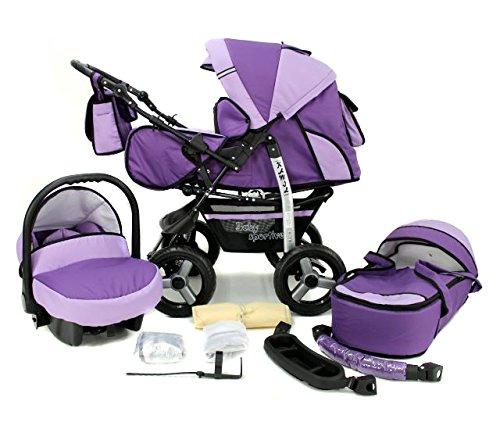 Kombi Kinderwagen Travel System Kamel 3in1 violet + Babyschale Autositz 0-10kg Kinderwagen Buggy Stroller Poussette