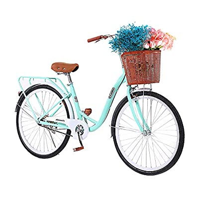 TOUNTLETS Womens Beach Cruiser Bike-26 Inch Unisex Classic Iron Bicycle with Basket Retro Bicycle Unique Art Deco Scooter,Road Bike,Seaside Travel Bicycle,Comfortable Commuter Bicycle