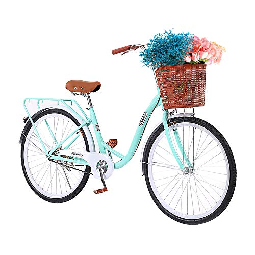 TOUNTLETS Womens Beach Cruiser Bike 26 Inch Unisex Classic Iron Bicycle with Basket Retro Bicycle Unique Art Deco Scooter,Road Bike,Seaside Travel Bicycle,Comfortable Commuter Bicycle (Blue)