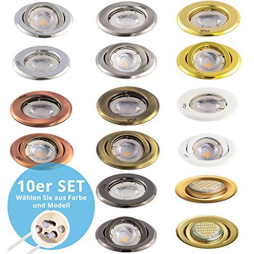 10 x Einbaurahmen für Halogen und LED Strahler, Rund und schwenkbar, Alt Messing gebürstet, inkl....