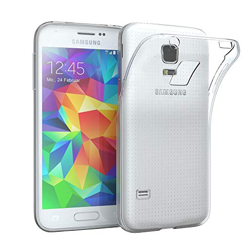 EAZY CASE Hülle für Samsung Galaxy S5 Mini Schutzhülle Silikon, Ultra dünn, Slimcover, Handyhülle, Silikonhülle, Backcover, Durchsichtig, Klar Transparent