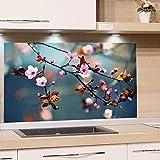 GRAZDesign Spritzschutz Glas für Küche Herd, Bild-Motiv Kirschblüte im Sommer, Küchenrückwand Küchenspiegel Glasrückwand / 80x50cm
