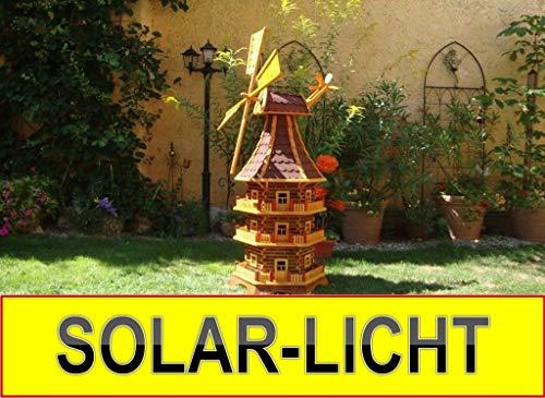 BTV MEGA - XXL Windmühle Premium Solar (Zubehör), für Pferde-Weide, Garten Terrasse, WETTERFEST + ROBUST mit Bitumen, mit Windrad, Seitenruder, Windfahne, DREISTÖCKIG, WMB-RAD200ro-MS,Windmühlen mi