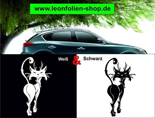 leon folien Haustier Katze Auto Aufkleber – Auto Tattoo – Wand Tattoo 17 x 9 cm (Weiß)
