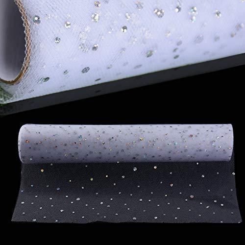 DEOMOR (30cm*9m) 1 Rotolo di Tulle Bianco Glitterato Argenti Bobina Poliestere Decorazione Festa Matrimonio Bomboniere Confetti Tutu Sedia da Tavolo Runner Natale (Bianco)