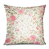iksrgfvb Kissenbezug 45x45CM Rosa Decoupage Klettern Blatt Rosen Blumen Vintage Vintage Blume...