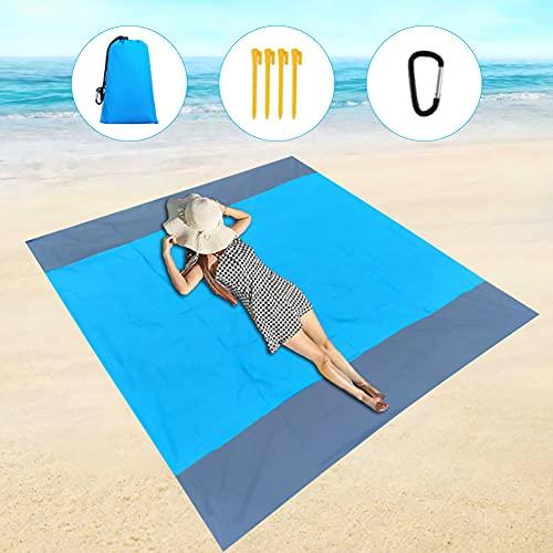 200*210cm Manta de Playa Impermeable,Manta de Picnic,Esterilla de Playa Ligera-Picnic para Playa,Camping,Senderismo y excursión (Azul)