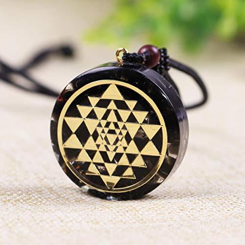 Ucjhxfr - Colgante de obsidiana natural con geometría sagrada, chakra, energía, collar de meditación