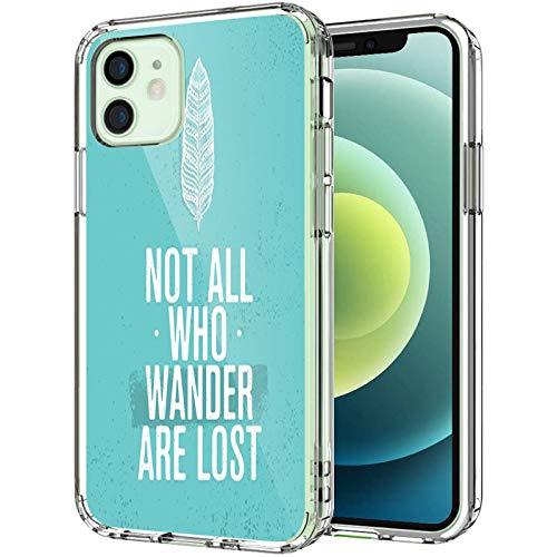Coque transparente Adventure compatible avec iPhone 12 Pro Max 17 cm 2020, Not All Who Wander are Lost Words of Wisdom - Style bohémien - Style grunge - Pour homme et femme