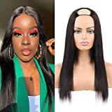 Huarisi 20 Inch Straight Upart Peluca Human Hair Brazilian Hair Wigs with U Shape Natural Straight Hair Natural Colour Wig 150% Density No Lace Middle Part Opening Clip in Wig