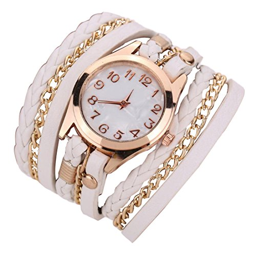Westeng Damen Armbanduhr Leder Weave Wrap Armbanduhr Frauen Casual Quarzuhr Charming Uhren