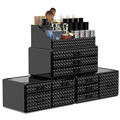 Awenia Make-up-Organizer [verbessert], Acryl-Kosmetik-Aufbewahrungsbehälter mit 4 verstellbaren Schichten, 11 Schubladen, Beauty-Organizer für Pinsel, Parfüm oder Schmuck, klares Design für Waschtisch, Badezimmer oder Arbeitsplatte (schwarz)
