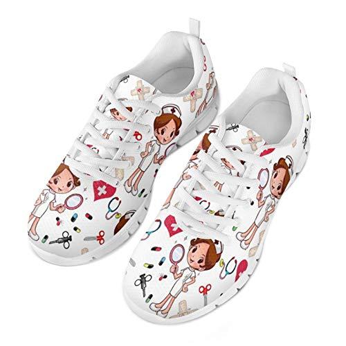 Belidome Kawaii Nurse Zapatillas de Malla para Mujeres, Hombres, niñas, Zapatillas de Moda, Zapatos Suaves y Transpirables 38EU
