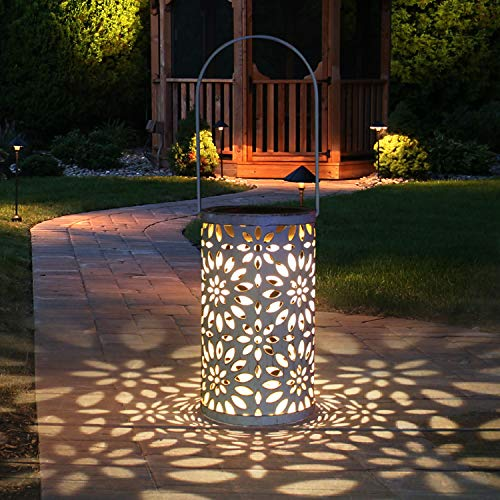 Solarlaterne Für Außen, Tencoz Solar Garten Hängende Laterne Zylinderförmige Nachtlicht Wasserdicht mit Lichtempfindlichkeit für Veranda/Rasen/Hof/Gehweg/Auffahrt/Weihnachten. (White)