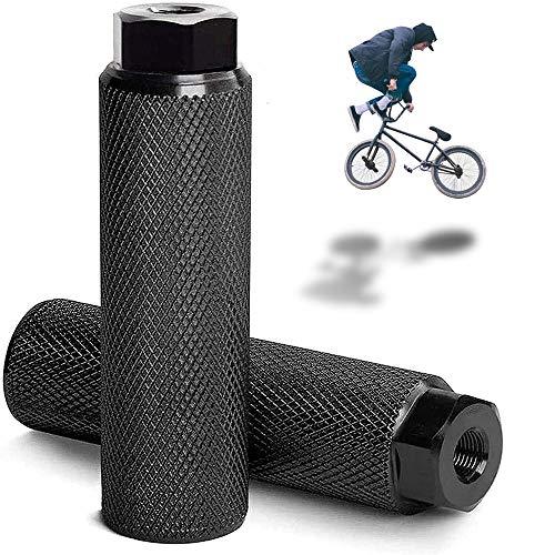 LORESJOY Pedale BMX in Lega di Alluminio,Picchetti Bike, Pedane Bicicletta,Antiscivolo,Poggiapiedi da Bicicletta,per BMX Bicicletta Mountain Bike Bambini e Adulti (Black)