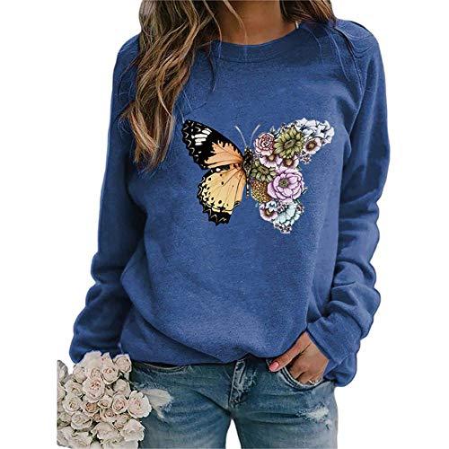 skiyy Sudadera Mujer Sudadera con Estampado de Mariposas Casual Cuello Redondo Manga Larga Camisetas Salvajes Pullover Blouse Tops 2021 (Azul, S)