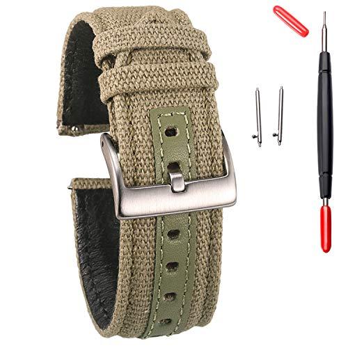 Correas de reloj de lona, correa de reloj de liberación rápida, bandas de repuesto de tela militar para hombres y mujeres, elección de 18 mm, 20 mm, 22 mm, 24 mm, apto para uso pesado