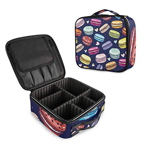 Colorful Food Macarons Trousse de Maquillage Professionnelle de Voyage Organisateur Portable Maquillage Trousse de Toilette de Voyage pour Femme