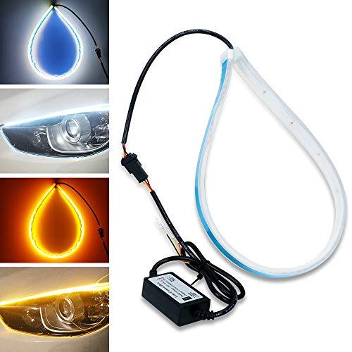 2 tubes LED blanc/ambre, YANF Flexible LED Tube Style Barre DRL Feux Diurnes Larme Strip Voiture Phare Clignotant Lampe de Parking (45CM)