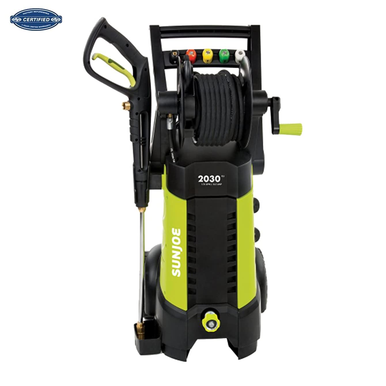 Sun Joe SPX3001 2030 PSI 1.76 GPM 14.5 AMP Electric Pressure Washer with Hose Reel, Green (Renewed)