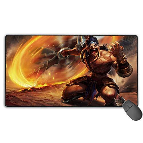Alfombrilla de ratón impermeable para League Legends Draven Gladiator, gran alfombrilla de ratón para juegos con bordes cosidos ultra gruesos, 30 x 80 cm