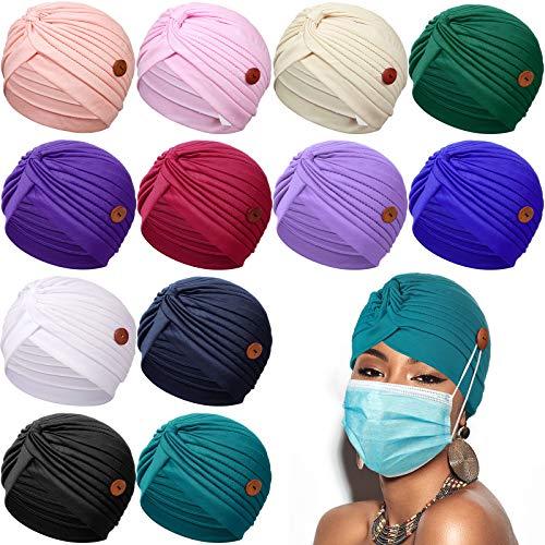 12 gorras turbantes con botón para mujer pre-atado nudo plisado Headwrap Beanie Soft Sleep Hat India Hat para mujeres y niñas