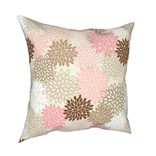 Reebos Fundas de almohada, rosas y marrones, diseño de mamá para el hogar, fundas de cojín cuadradas para sofá, sala de estar, cama de 45,7 x 45,7 cm