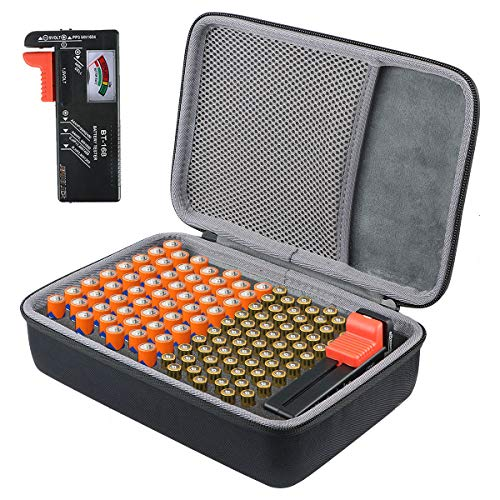co2CREA Duro Viaggio Caso custodia per custodia Battery Organiser Storage Box Carrying Case Bag-Holds 53 Batteries AA AAA CD9V-Fits D-FantiX Digital Battery Tester BT-168D(Piccola scatola, con tester)