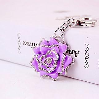 Reizteko Blossoming Rose Keychain Sparkling Flower Keyring Crystal Rhinestones Purse Pendant Handbag Charm (Purple)