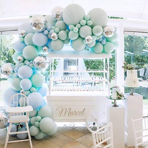 Mint Green Balloons Garland Kit, Birthday Party Decorations Balloon Garland, Mint Green, Blue, Silver Metal Balloon, Boy Party, Baby Shower Birthday Decorations.