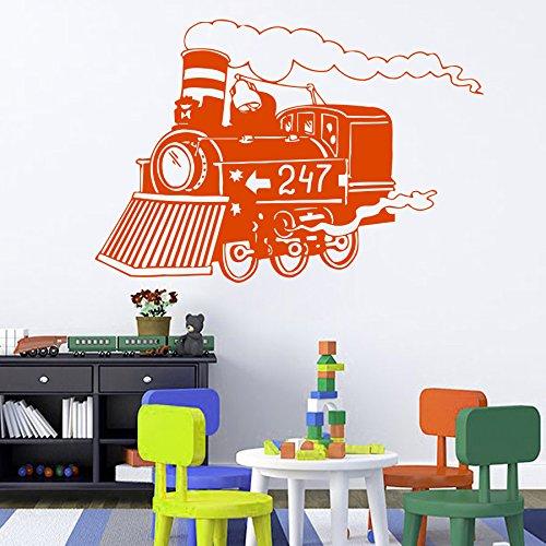 Vinyl Wandtattoo Welt Zug Lokomotive Kinder Eisenbahn Wandaufkleber Wandsticker Wanddekoration Fototapete Dekoration für Kinderzimmer Schlafzimmer Wohnzimmer Arbeitszimmer Kabinett Zimmer M122