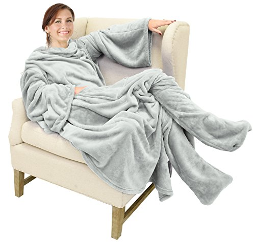 Catalonia TV-Decke Kuscheldecke mit Ärmel und Füßen, Profikuschel Ganzkörper Snuggle Decke zum Anziehen Winter Wolldecke Slanket für Erwachsene Frauen und Männer für Geschenk, 190 x 135 cm, Hellgrau