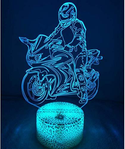 3D Moto ilusión Optica Lámpara Luz Nocturna 7 Colores Cambiantes Touch USB de Suministro de Energía Juguetes Decoración Navidad Cumpleaños Regalo