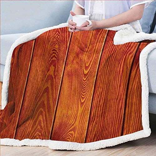 ParadiseDecor Orange Soft Blanket All Season Fleece Tv Blanket for Bed Wooden Rustic Texture Image with Natural Patterns Oak Timber Tree Floor Print Orange Marigold 50W x 60L inches