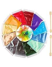 Funxim epoxyhars kleur 12x10g, zeepkleur set metallic kleur harskleur, Mica Poeder Pigmenten Poeder voor Zeep Hars Gegoten Hars Slijm Schilderij DIY