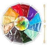 Funxim Epoxidharz Farbe 12er×10g mit Löffel, Seifenfarbe Set Metallic Farbe Resin Farbe, Mica...
