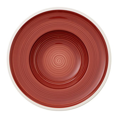 Villeroy & Boch Manufacture Rouge, handbemaltes vaisselle en haute qualité premium Rouge, assiettes creuses 24 cm, Porcelaine, Blanc, 25 x 25 x 3 cm
