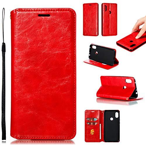 LODROC Xiaomi Redmi Note 6 Pro/Note 6 Hülle, TPU Lederhülle Magnetische Schutzhülle [Kartenfach] [Standfunktion], Stoßfeste Tasche Kompatibel für Xiaomi Redmi Note 6 Pro - LOYKB0200467 Rot