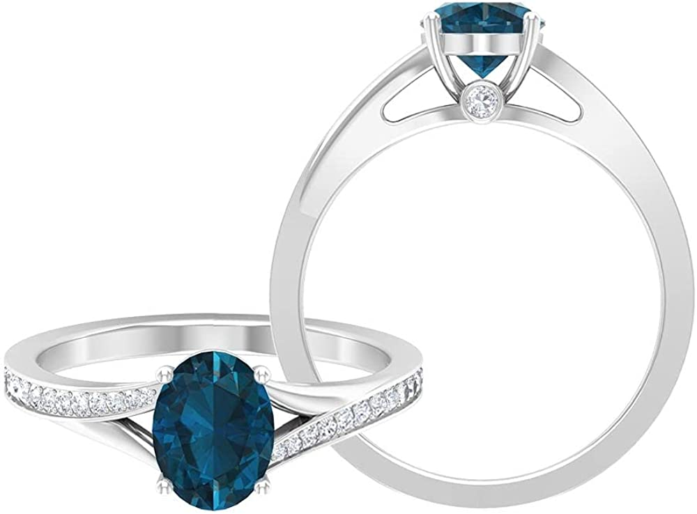 1.75 CT Gold Solitaire Ring with London Blue Topaz and Moissanite, Split Shank Ring (8X6 MM Oval Cut London Blue Topaz),14K White Gold,London Blue Topaz,Size:US 12.00