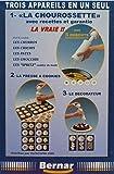Chourossette 17 boquillas. Tres dispositivos en uno para hacer los churros de los cuales hay churros huecos + una prensa para galletas 8 puntas + 3 para la decoración de pasteles y entradas + libro de recetas.