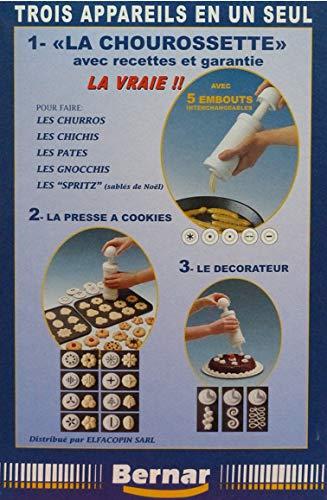 Chourossette 17 Embouts. Trois appareils en Un pour Faire des Churros Dont des Churros Creux + Une Presse à Cookies 8 Embouts + 3 pour la décoration des gâteaux et des entrées + livret de Recettes
